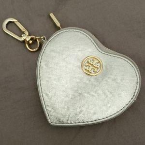 Tory Burch Silver Heart Coin Purse Keychain